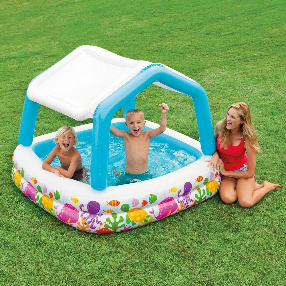 Intex sun shade inflatable kids children infant swimming pool with canopy fun ebay - Inflatable pool ...