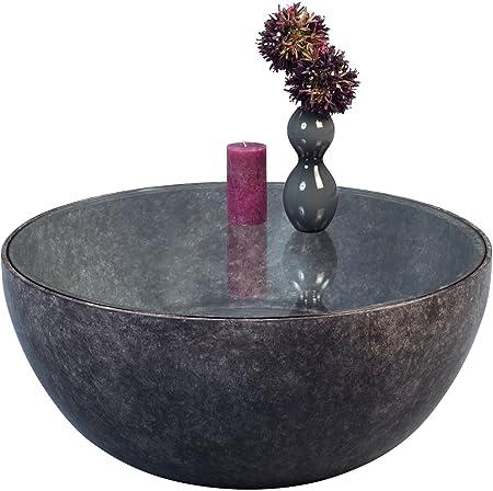 HomeTrends4You 106048 Couchtisch, Kunststoff, marmoroptik dunkel, 80 x 80 x 35 cm