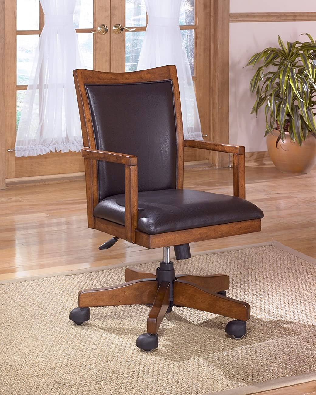 Crossingland Medium Brown Luxurious Home Office Swivel Desk Chair 0
