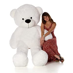 Giant Teddy Personalized Life Size 6 Foot Bear Cuddles with Red Heart T-Shirt (Snow White) (Color: Snow White, Tamaño: 6 Foot)