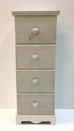 Mobiletto in legno verticale,stile Shabby,4 cassetti,cm31x80x25,5
