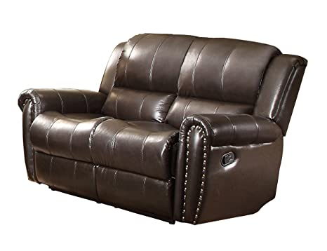 Homelegance Genuine Leather Brown with Nail Head Accents Glider Reclining Loveseat