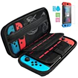 Nintendo Switch Carry Case + 2PCS Tempered Glass Screen Protector, GIM Portable Protective Hard Shell Cover Travel Storage Bag with 20 Game Cartridge for Nintendo Switch Console & Accessories (Color: Switch Case+2pcs Screen Protector)