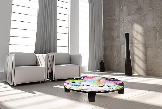 """TAF DECOR """"Hello"""" Art Coffee Table, 35"""" X 35"""" X 7.5"""", Multicolored"""