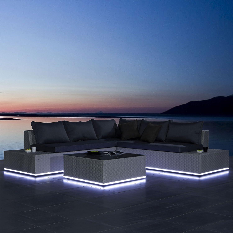 Luxus Lounge Gartengarnitur mit solarbetriebener LED-Beleuchtung Polyrattan Sitzgruppe inklusive Polster Sitzgarnitur Wohnlandschaft Couchgarnitur Gartenmöbel Terrassenmöbel Grau meliert jetzt kaufen