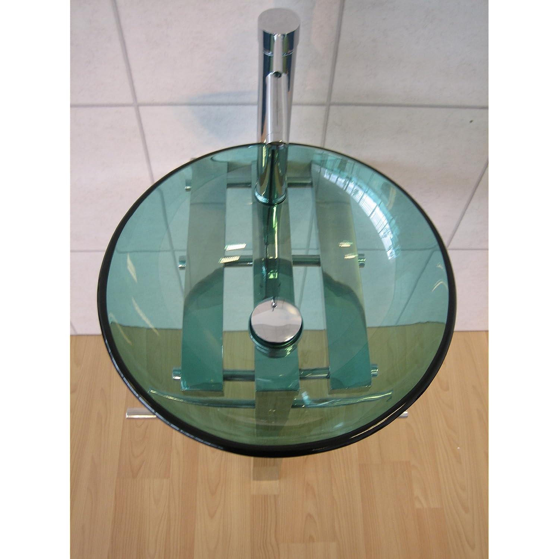 ... Bathroom Sink Round Green Glass Wash Basin Pedestal Tap Trap Waste