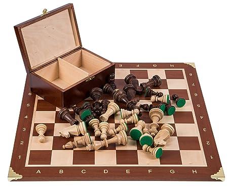 Pro Set de jeu d'échecs no 6 - FRANCE - Échiquier + Pièces d'échecs - Staunton 6