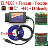 ELM327, Forscan ELM 327- HS-CAN and MS-CAN Modified ELM327 OBD Self Diagnostic Tool Compatible with Forscan Focccus ELMconfig FF2 Software for Focus Mondeo Kuga Edge Exploror F50 Taurus Everest Escort (Color: ELM327 BLACK, Tamaño: M-ELM327)