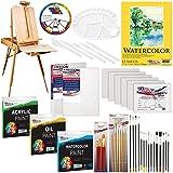 US ART SUPPLY 121-Piece Custom Artist Painting Kit with Coronado Sonoma Easel, 24-Tubes Acrylic Colors, 24-Tubes Oil Painting Colors, 24-tubes Watercolor Painting Colors, 2-each 16
