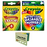 Crayola Crayons, 8 Count | Broad Point Washable Markers, 8 Count | Includes 5 Color Flag Set (Color: Assorted Color, Tamaño: crayons + markers)