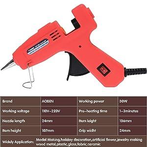 Hot Glue Gun, AOBEN Mini Craft Melt Glue Gun Kit with 20pcs Glue Sticks for DIY Small Craft Projects, Arts, Sealing and Quick Repairs, Red (30W)