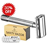Emarth Double Edge Safety Razor Long Handle+5 Pieces Stainless Blades+Carry case (Color: Silver, Tamaño: large)