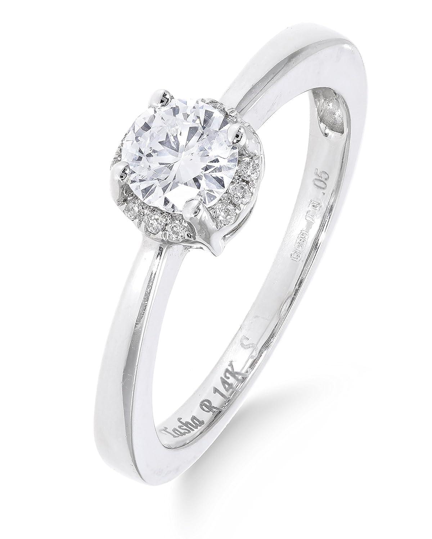 Klassischer 14 Karat (585) Weißgold Fancy Damen – Diamant Ring Brillant-Schliff 0.05 Karat I-I1 mit Zirkonia 0.45 Karat schenken