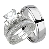 His and Hers Wedding Ring Set Matching Trio Wedding Bands for Him Her 9/7 (Color: white)