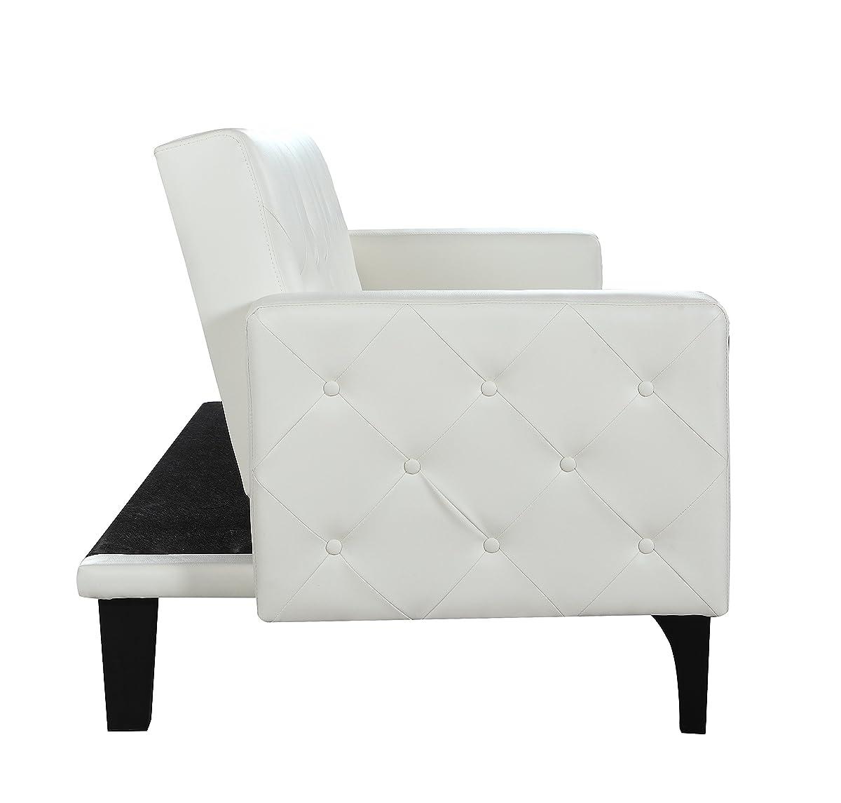 Modern Nailhead Sofa: Modern Tufted Bonded Leather Sleeper Futon Sofa With