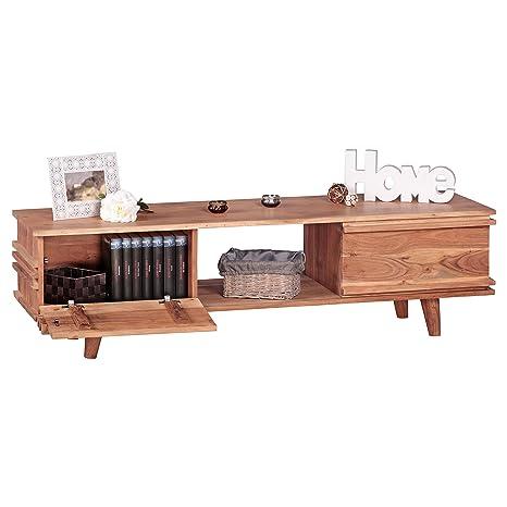 WOHNLING Lowboard Massivholz Akazie Kommode 145 cm TV-Board Ablage-Fach Landhaus-Stil Unterschrank TV-Möbel Echt-Holz Hifi-Rack 41 cm hoch Sideboard tief Deko Fernsehschrank offen Natur-Produkt