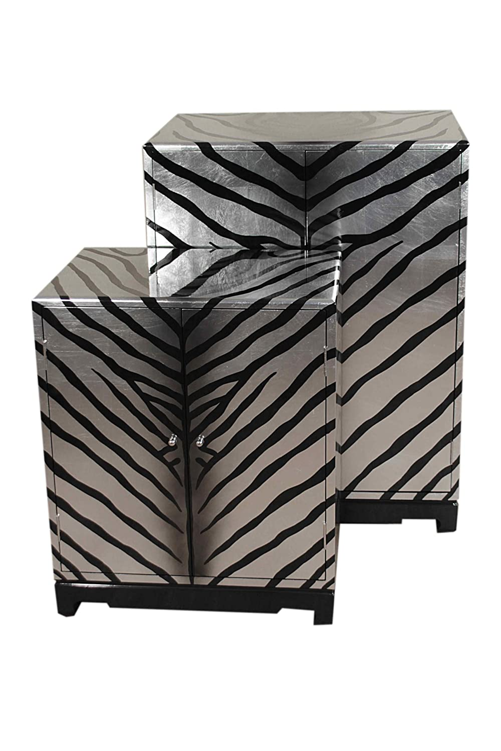 Casa Collection / Art for living by Jänig 10863 Schränke, 2-er Set, 2-türig, Zebra, Lack, groß 102 x 74 x 43 cm, klein 77 x 61 x 35 cm
