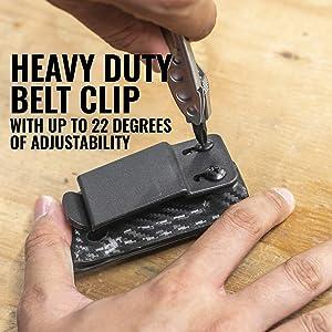 Clip & Carry Kydex Sheath Belt Clip Holster Holder Cover for LEATHERMAN SKELETOOL - Made in USA (Carbon Fiber Red) (Color: Carbon Fiber Red)