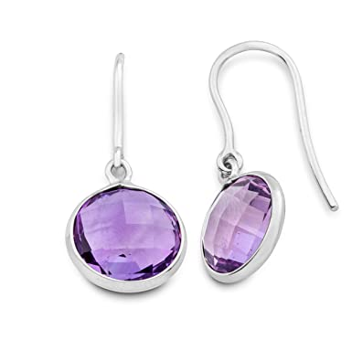 Miore women's 9ct White Gold Amethyst Fish Hook Earrings of 2.5cm