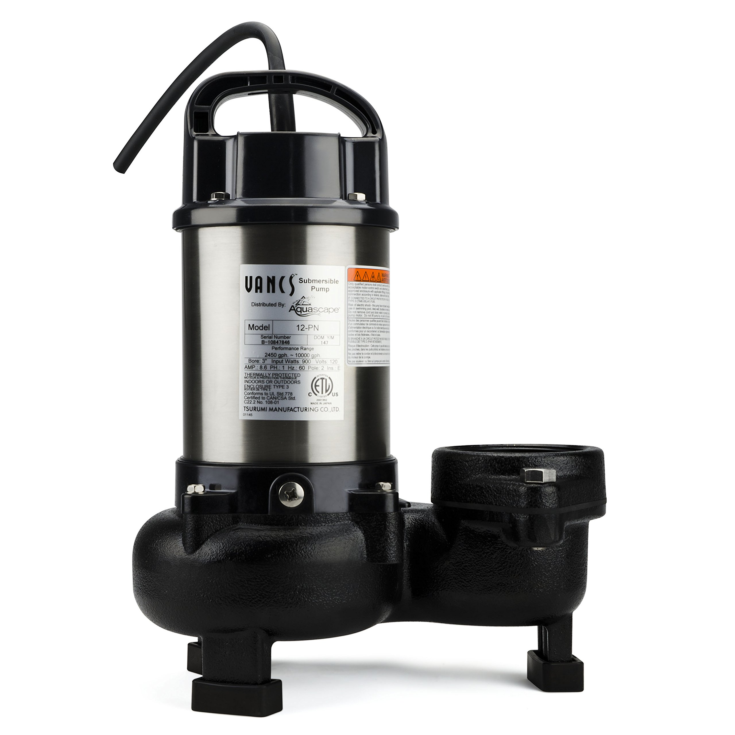 Aquascape 30391 tsurumi 12pn submersible pump for ponds for Large pond pumps and filters