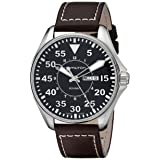 Hamilton Men's H64611535 Khaki King Pilot Black Watch with Brown Leather Band (Color: Brown)
