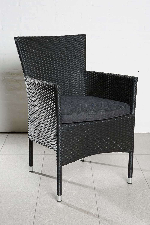 4x Hochwertiger Polyrattan Stapelbar Gartenstuhl Sessel Rattan Stuhl Gartenstühle Gartenmöbel