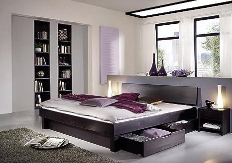 XXS® Campino Holzbett 180 x 200 cm in Kernbuche wenge mit Bettkasten, massives Bett in naturlichem Design, hohes geschlossenes Kopfteil fur Leseabende, zeitloses Buchenbett fur Ihr Schlafzimmer