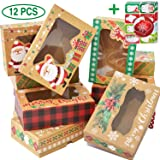 12 Christmas Cookie Boxes -Large Holiday Bakery Food Container for Gift Giving with 80 Count Christmas Foil Gift Stickers (Color: Santa, Tamaño: 12 Medium)