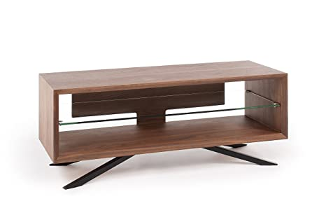 TECHLINK Arena AA110W Walnut with Clear Glass Shelves and Black Pyramidal Base Stand for TV's Upto 55 inch