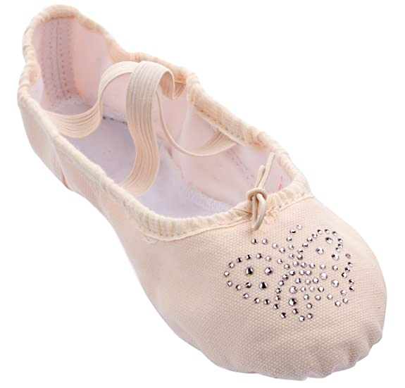 Girls Pink Canvas Split-sole Ballet Slippers with Lt. Pink Rhinestone Butterfly