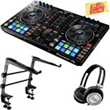 Pioneer DDJ-RR Portable 2-Channel Controller for Rekordbox DJ Bundle with Stand, Headphones, and Austin Bazaar Polishing Cloth (Color: Bundle w/ Stand, Tamaño: DDJ-RR)