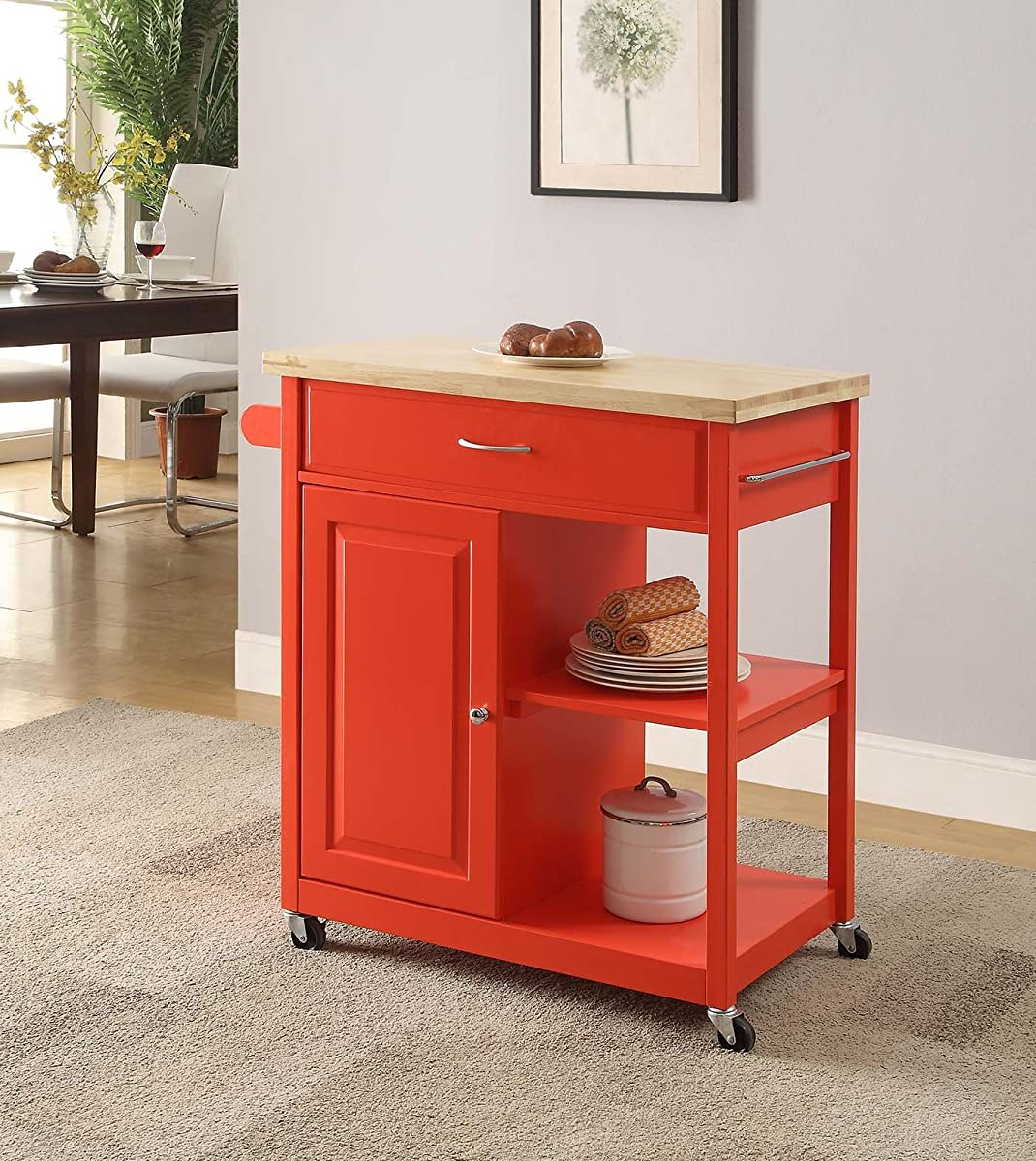 "Oliver and Smith - Nashville Collection - Mobile Kitchen Island Cart on Wheels - Red - Natural Oak Butcher Block - 30"" W x 18"" L x 36"" H"