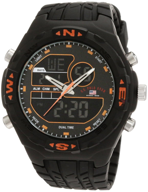 U.S. Polo Assn. Men's US9059 Analog-Digital Black Dial Black Rubber Strap Watch