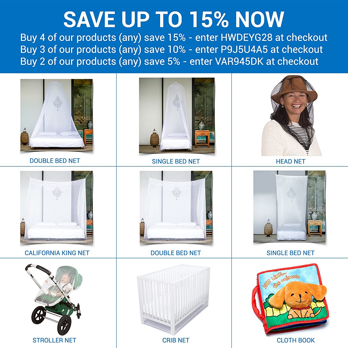 PREMIUM MOSQUITO NET for Double Bed by EVEN Naturals, Full Hanging Kit, Carry Bag & Amazing eBook, Circular Screen Netting Canopy Curtains, Insect Protection Repellent, 100% Satisfaction Guarantee