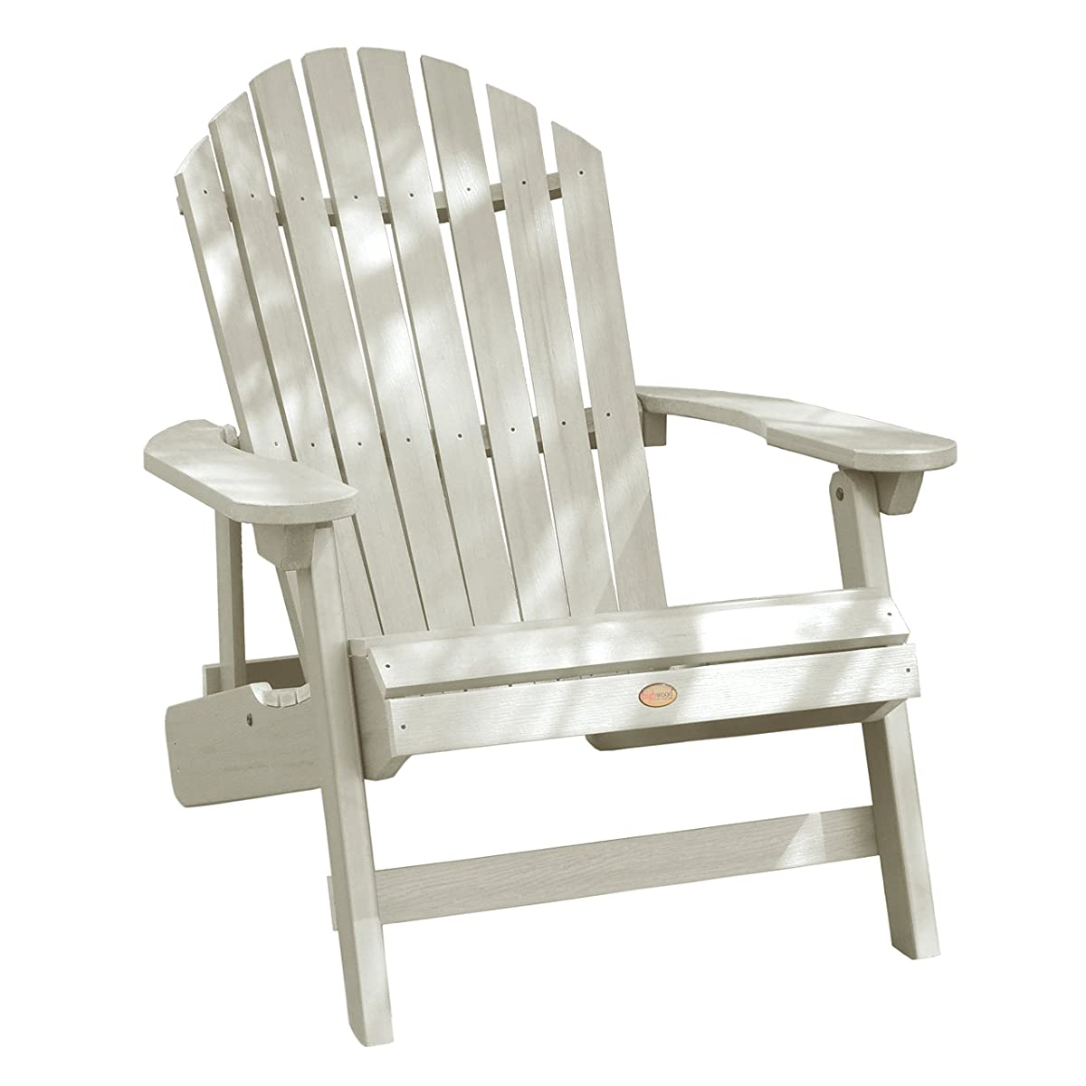 Highwood King Hamilton Folding and Reclining Adirondack Chair, Whitewash