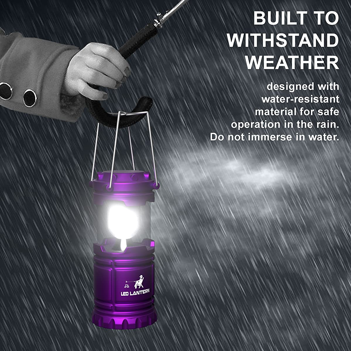 MalloMe LED Camping Lantern Flashlights with 6 AA Batteries, Pack of 2 (Red / Purple)