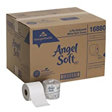 "Georgia-Pacific Angel Soft ps 16880 White 2-Ply Premium Embossed Bathroom Tissue, 4.05"" Length x 4.0"" Width (Case of 80 Rolls, 450 Sheets Per Roll)"