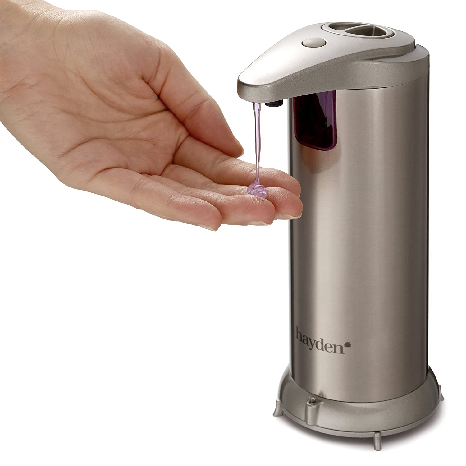 HAYDEN® Premium Automatic Soap Dispenser Touchless -Perfect for Bathroom or Kitchen - Fingerprint Resistant Stainless Steel - Brushed Nickel