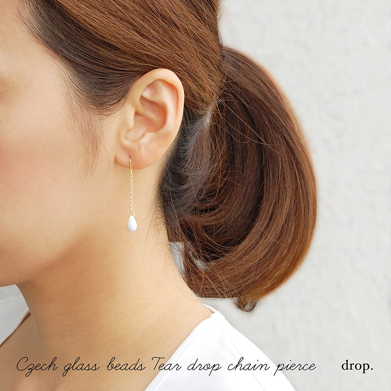 drop.チェコガラス ドロップ チェーン ピアス