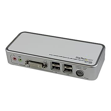 StarTech.com SV211KDVIEU Ensemble de commutateur KVM DVI 2 ports USB avec câbles USB 2.0 audio et concentrateur