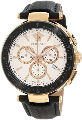 "Versace Men's I8C80D001 S009 ""Mystique"" Rose Gold Ion-Plated Watch with Leather Band"