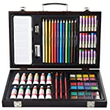 COLOUR BLOCK Classic 73 Piece Wooden Box Art Supplies Kit, with Colored Pencils, Acrylic Paints, Watercolor Cakes, Oil Pastels, Brushes and Palette for Teens and Student Artists (Color: Gold, Tamaño: 73 pc Mixed Media Wooden Case Set)