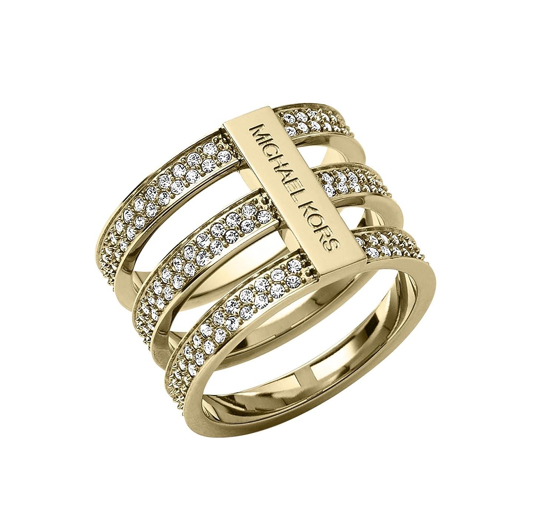 Michael Kors Damen-Ring mit Glassteinbesatz Edelstahl Glas weiß Gr. 52 (16.6) – MKJ3780710-6 online kaufen