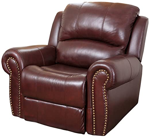 Abbyson Living Hogan Leather Recliner in Two-Tone Burgundy