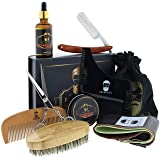 Beard Grooming Kit for Men 10 in 1 – Best Beard Kit Includes Brush, Oil, Comb, Balm, Straight Razor, Sharpening Strop, Shaping Tool, Beard & Mustache Scissors & Cotton Bag for Beard Care ?