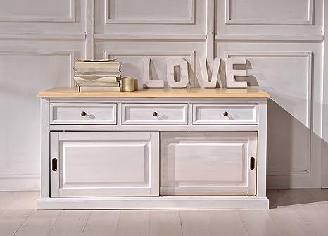 Credenza in legno finitura bianco con piano naturale, con 2 porte scorrevoli e 3 cassetti 120x107