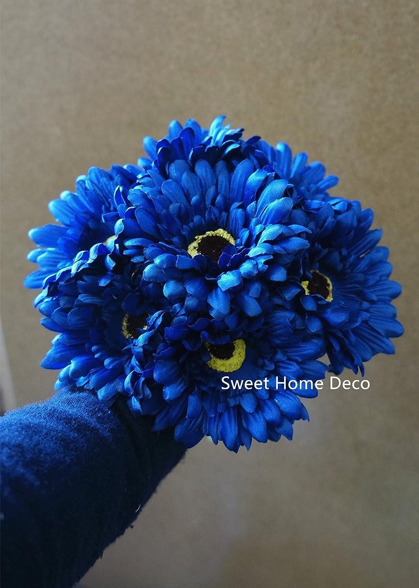 Sweet Home Deco 13 Silk Artificial Gerbera Daisy Flower Bunch (W/ 7stems, 7 Flower Heads) Home/Wedding (Royal Blue)