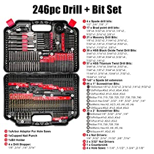 Enertwist 246-Piece Drill Bit Set for Metal Wood Masonry Cement Plastic Drilling and Screw Driving, ET-DBA-246 (Color: Orange, Tamaño: Medium)