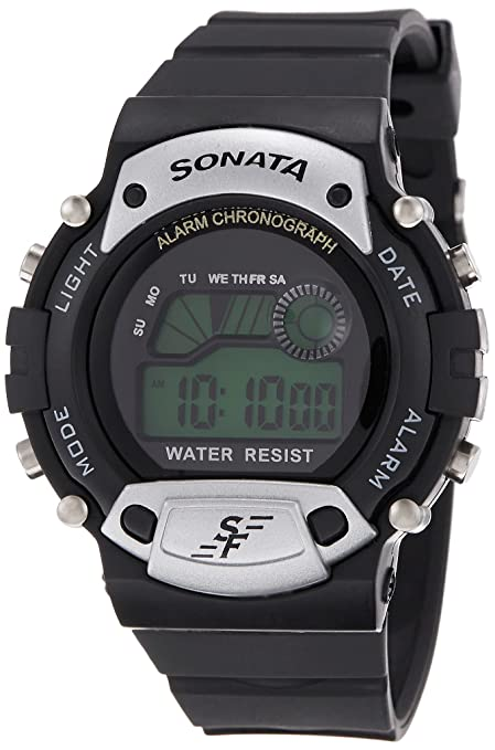 Sonata Digital Grey Dial Men's Watch - NG7982PP02J