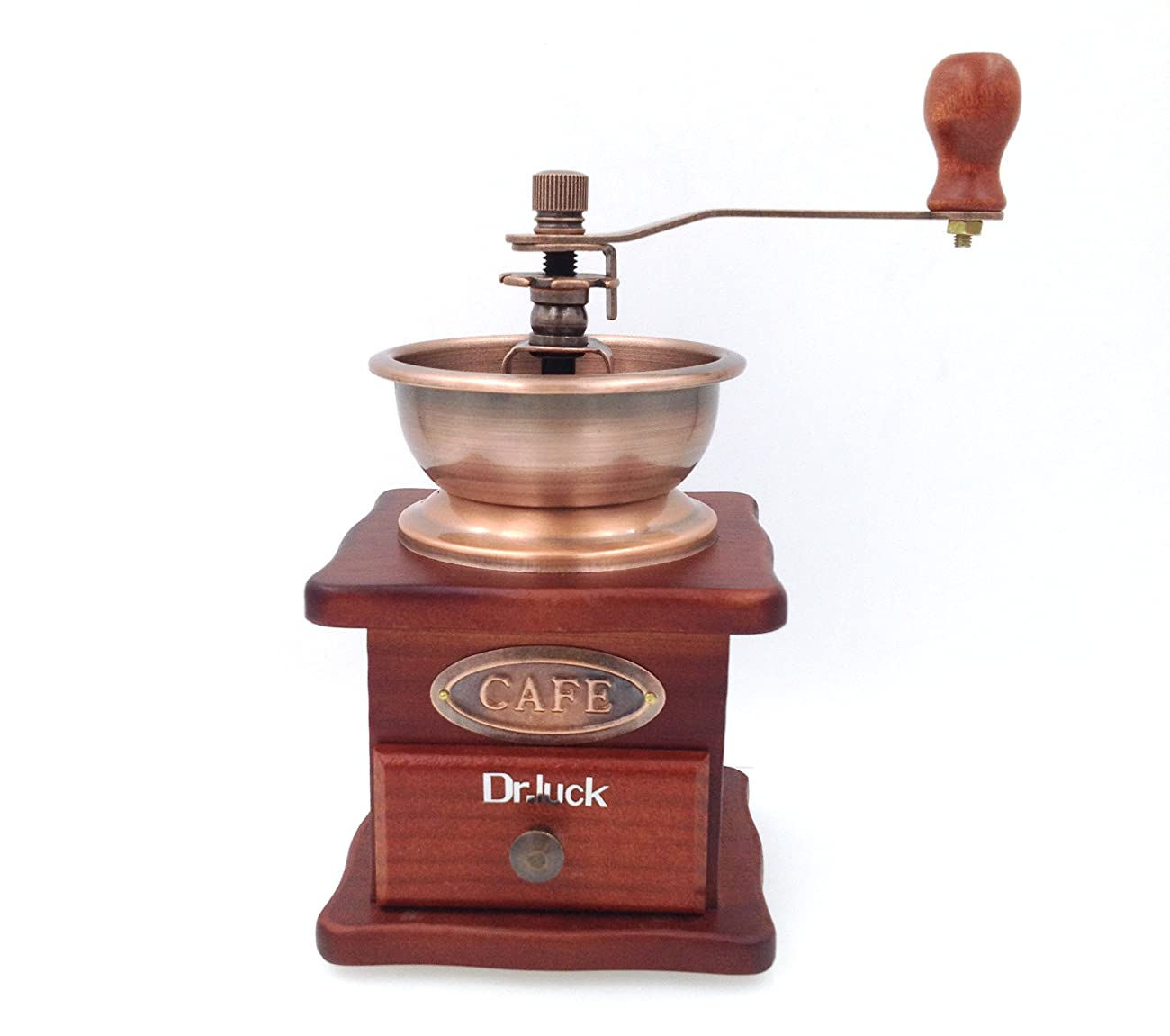 Dr.Luck Manual Coffee Bean Hand Grinder Spice Herbs Vintage Style Wooden Retro Burr Mill,Strong And Durable Hand Grinding Machine, Coffee Beans Grinding Machine, Classic Grain Mill, Manual Grinding Bean Machine(Color:Bronze,Pack of 1) 0